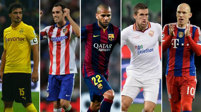 Hummels, Godin, Alves, Strootman and Robben comp
