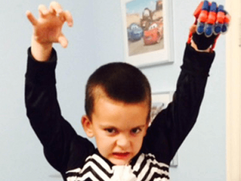 Boy born without fingers given prosthetic Spider-Man glove