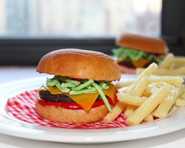 A burger made out of sweets by Candy Cuisine