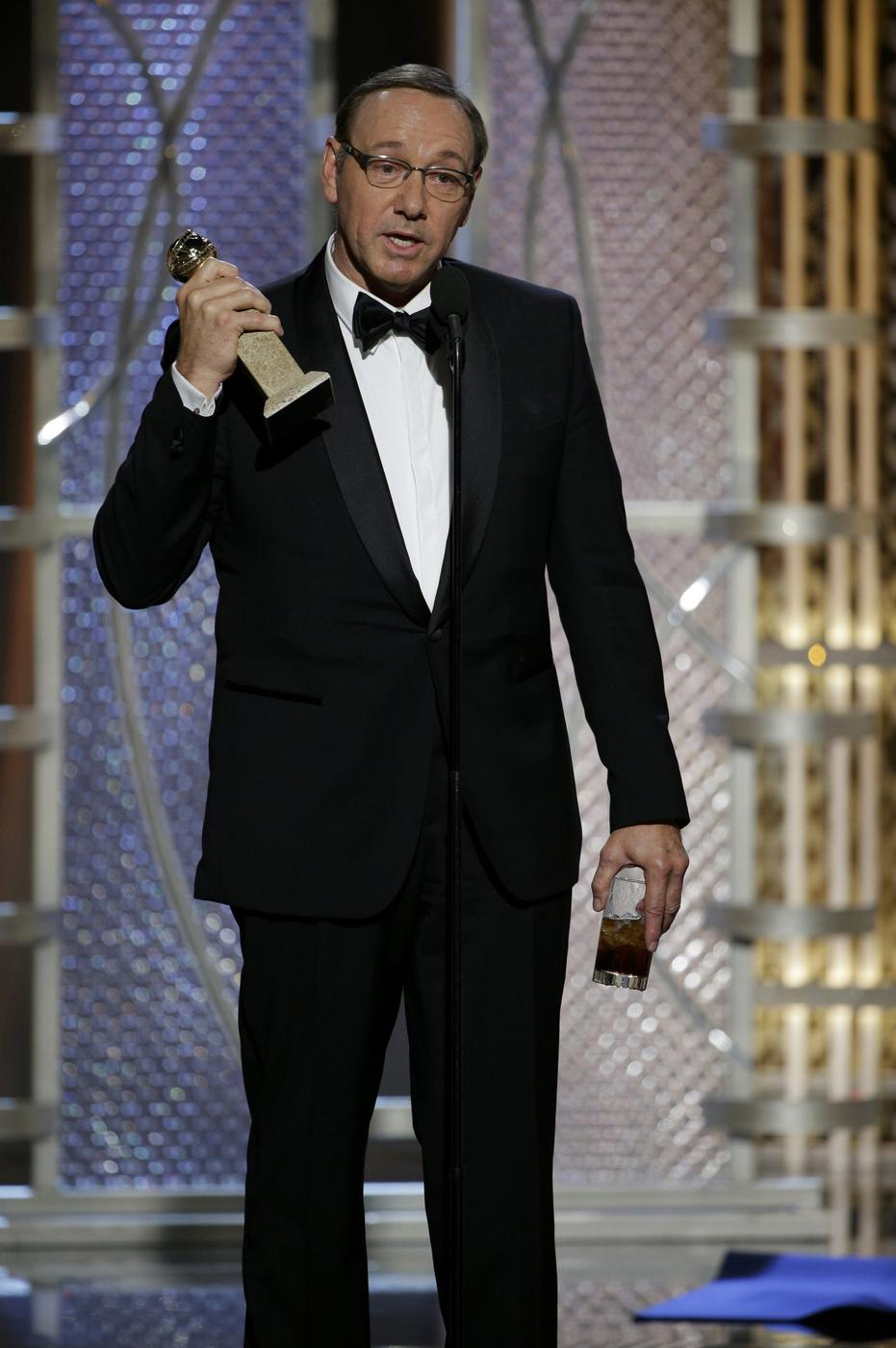'This is the eighth time I've been nominated – I can't f***ing believe I won!' Kevin Spacey drops F-bomb during Golden Globes acceptance speech