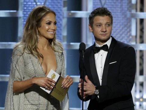 The awkward moment Jennifer Lopez laughs off co-presenter Jeremy Renner acknowledging her 'Golden Globes'