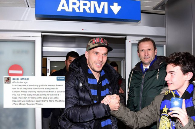 Lukas Podolski posts farewell message to Arsenal fans as he nears Inter Milan loan move