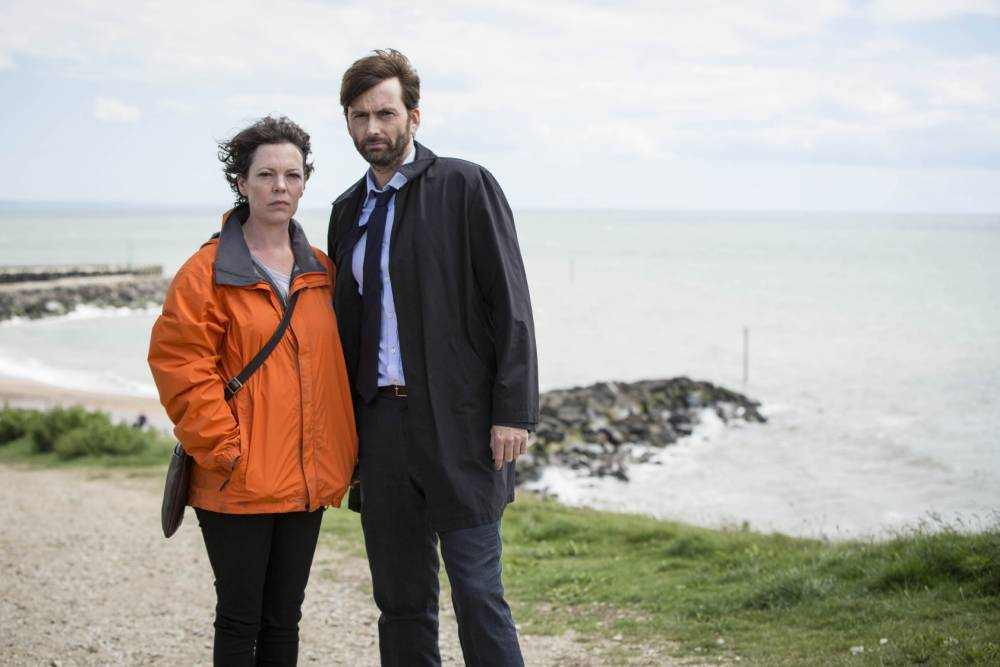 BROADCHURCH SERIES 2 on TV3......KUDOS FILM AND TELEVISION PRESENTS....BROADCHURCH SERIES 2....Images are under strict Embargo not to be used before the 18th December.......PICTURED : DAVID TENNANT as D.I Alec Hardy and OLIVIA COLMAN as D.S Ellie Miller.....Copyright ITV/Kudos.
