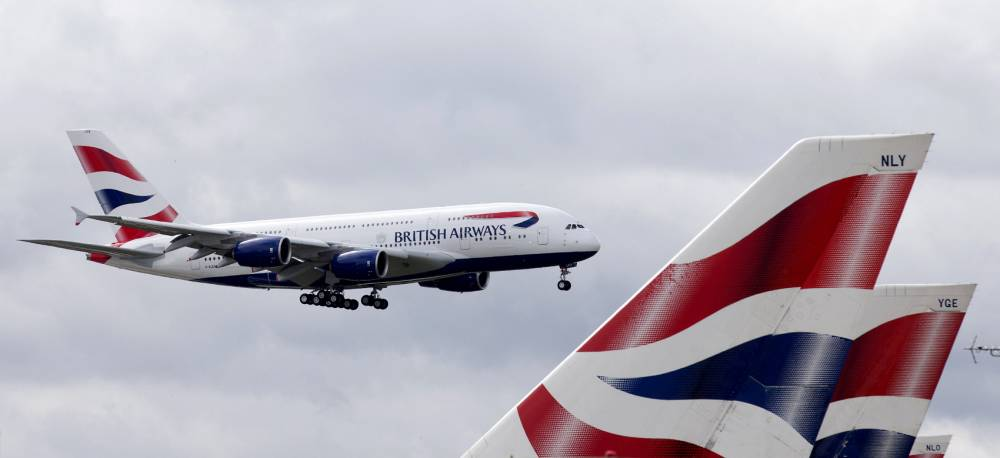 A British Airways Airbus A380 lands at Heathrow Airport in London on July 4, 2013. British Airways is the first UK airline to take delivery of the A380 and the first long-haul flight will be to Los Angeles on September 24, 2013.   AFP PHOTO/JUSTIN TALLIS        (Photo credit should read JUSTIN TALLIS/AFP/Getty Images)