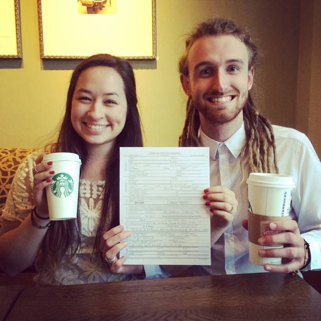 Rachel Villaire and Jacob Kemp Couples get married at Starbucks Starbucks wedding