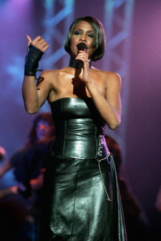 Singer Whitney Houston performing at the 1999 Brit Awards at Earl's Court, 16th February 1999. (Photo by Mick Hutson/Redferns)