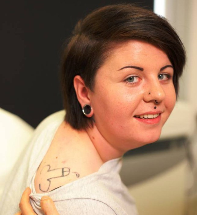 BPM MEDIAn**IMAGE SUPPLIED BY ENDEMOL - WARNING, EXPLICIT CONTENT**nHolly Aston from Birmingham who features on Channel 4 series of Bodyshockers with an ill-advised tattoo on her shoulder