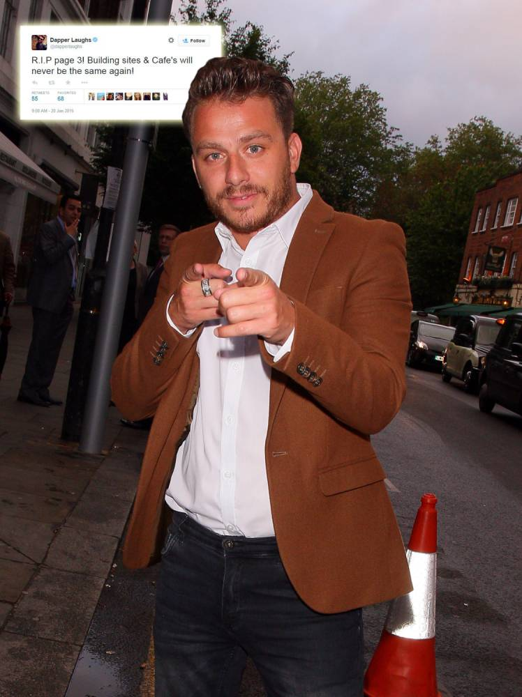Dapper Laughs laments the demise of Page 3 with the help of a rogue apostrophe