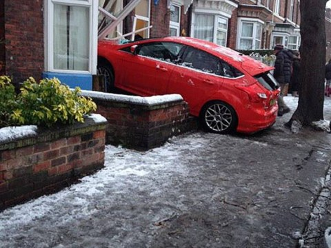 Pictured: Heavy snowfall causes chaos for drivers in the north of England