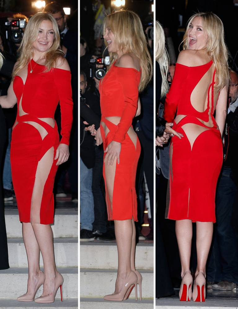 Kate Hudson flashes her bum in gorgeous cut-out red dress at the Paris Haute Couture Fashion Week