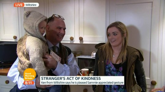****Ruckas Videograbs****  (01322) 861777 *IMPORTANT* Please credit ITV for this picture. 28/01/15 Good Morning Britain - ITV1 Grabs from this morning's show which saw Sammie Welch and her three-year-old son Rylan being reunited with the stranger who handed her a kind note commending her parenting skills along with a £5 note to buy herself a drink after he was impressed with her son's manners. GMB tracked down Ken Saunders at his home in Wiltshire and then surprised him by bringing in Sammie and Rylan, who gave him a thank you card. GMB's Louisa James introduced Mr Saunders to Sammie and Rylan while Susanna Reid and Ben Shephard watched on from the ITV Studios. Office  (UK)  : 01322 861777 Mobile (UK)  : 07742 164 106 **IMPORTANT - PLEASE READ** The video grabs supplied by Ruckas Pictures always remain the copyright of the programme makers, we provide a service to purely capture and supply the images to the client, securing the copyright of the images will always remain the responsibility of the publisher at all times. Standard terms, conditions & minimum fees apply to our videograbs unless varied by agreement prior to publication.