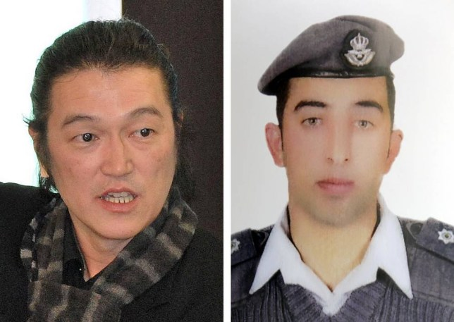 """A combination of pictures made on January 29, 2015, shows a picture taken on March 4, 2014 in Tokyo and released by an international relief organisation of Japanese journalist Kenji Goto (L) and a recent picture released by the family of Jordanian pilot Maaz al-Kassasbeh (R), who were both captured by Islamic State (IS) jihadist group in Syria. In a new unverified audio message distributed by IS-linked Twitter accounts, a voice identifying itself as Japanese freelancer Kenji Goto says his captors will kill Maaz al-Kassasbeh if Sajida al-Rishawi, an Iraqi woman on death row in Jordan, is not handed over by the end of the day.   AFP PHOTO /HO ==RESTRICTED TO EDITORIAL USE - MANDATORY CREDIT """"AFP PHOTO / HO"""" - NO MARKETING NO ADVERTISING CAMPAIGNS - DISTRIBUTED AS A SERVICE TO CLIENTS==-/AFP/Getty Images"""