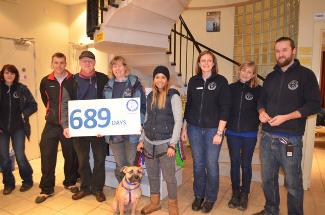 Biscuit the dog with his new owners and Battersea staff