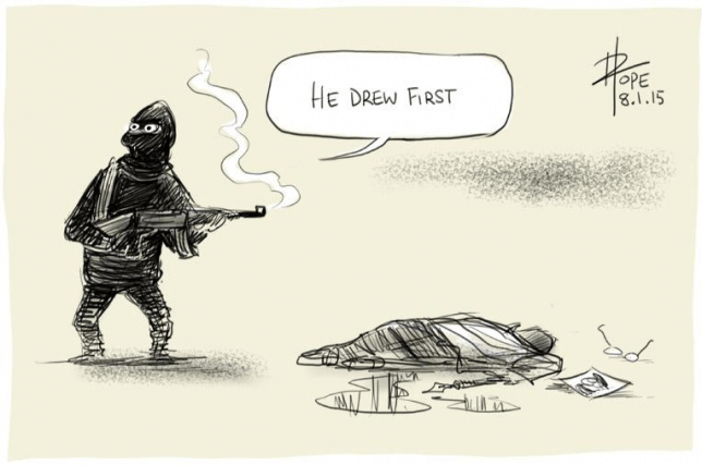 Charlie Hebdo cartoon reaction by David Pope