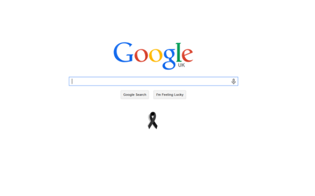 Google have marked the tragic event by placing a black ribbon on their homepage (Picture: Google)
