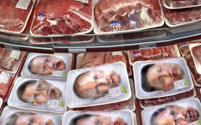 Politicians packaged like meat in a supermarket