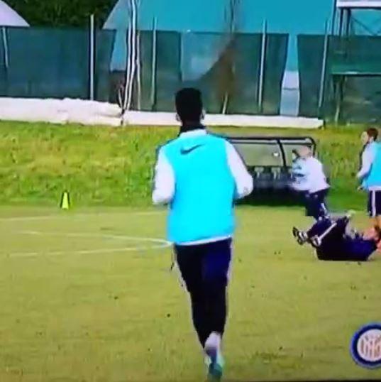 Roberto Mancini gets hit in face AGAIN during Inter Milan training
