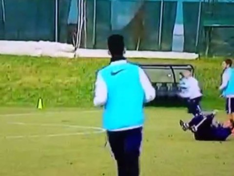 Roberto Mancini gets hit in face AGAIN during Inter Milan training