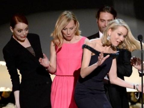 Awkward! Watch Naomi Watts trip over Emma Stone's dress on stage at SAG Awards 2015