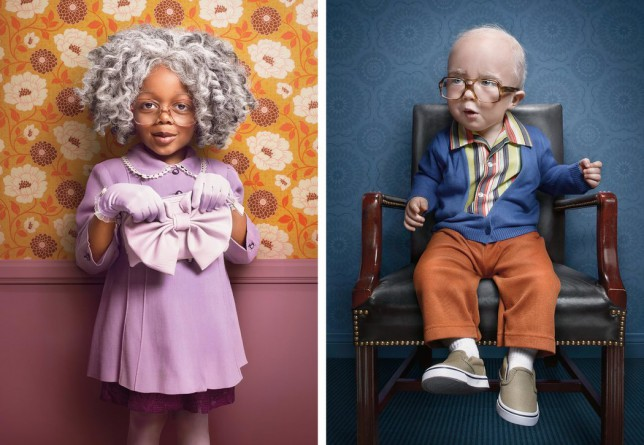 Photographer Zachary Scott photographed children to look like old people