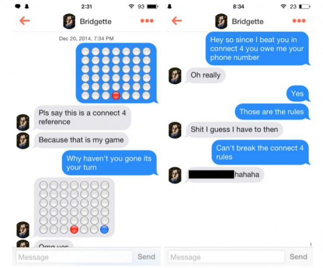 How to get girls to talk to you on Tinder: Use Connect Four