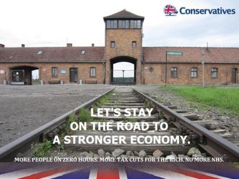 Labour councillor suspended after tweeting Auschwitz parody of Tory poster