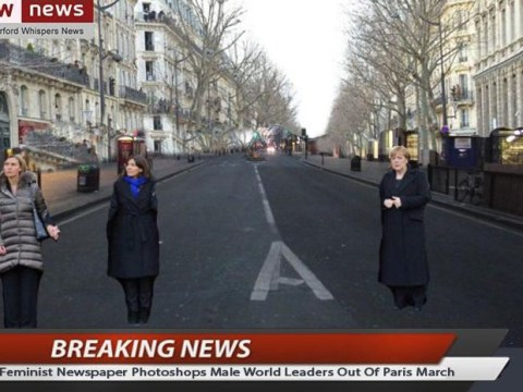 Male world leaders photoshopped out of Paris rally by 'feminist newspaper'