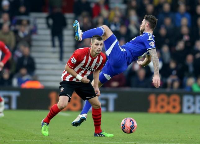 Southampton's Morgan Schneiderlin had a lucky escape avoiding Tottenham Hotspur