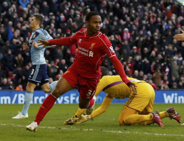 Liverpool's Raheem Sterling celebrates his goal during their English Premier League soccer match against West Ham United at Anfield in Liverpool, northern England January 31, 2015. REUTERS/Phil Noble (BRITAIN - Tags: SPORT SOCCER TPX IMAGES OF THE DAY) EDITORIAL USE ONLY. NO USE WITH UNAUTHORIZED AUDIO, VIDEO, DATA, FIXTURE LISTS, CLUB/LEAGUE LOGOS OR 'LIVE' SERVICES. ONLINE IN-MATCH USE LIMITED TO 45 IMAGES, NO VIDEO EMULATION. NO USE IN BETTING, GAMES OR SINGLE CLUB/LEAGUE/PLAYER PUBLICATIONS.FOR EDITORIAL USE ONLY. NOT FOR SALE FOR MARKETING OR ADVERTISING CAMPAIGNS. Phil Noble/Reuters