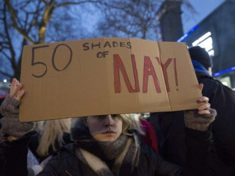 Domestic abuse protesters rally at Fifty Shades Of Grey UK film premiere