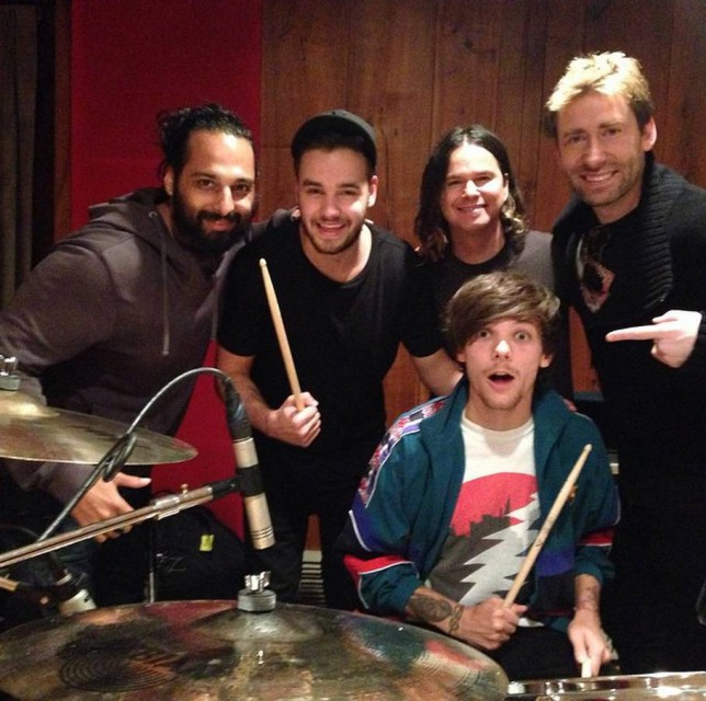 Liam Payne and Louis Tomlinson join Nickelback for this instagram picture grab by Metro picture desk