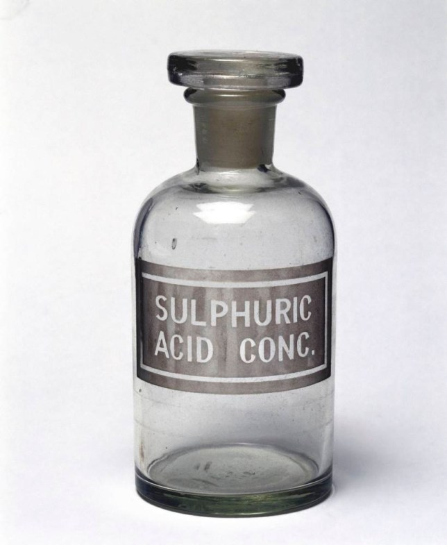 UNITED KINGDOM - NOVEMBER 07: Reagent bottle with a ground glass stopper and sand blasted label reading 'sulphuric acid conc' (concentrated sulphuric acid. A reagent is a substance or mixture used in chemical analysis. Many laboratory chemicals are stored in this type of bottle. Sulphuric acid (H2SO4) is a strong acid which has many industrial applications including in the pharmaceutical and metallurgical industries. (Photo by SSPL/Getty Images)