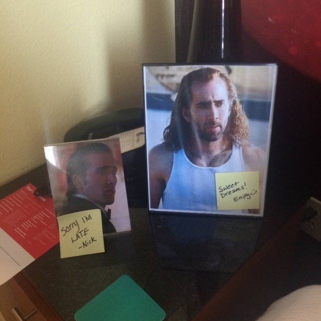 Woman jokingly asked hotel to decorate her room with Nicholas Cage pics - hotel obliged Credit: Sarah Kovacs Grzywacz