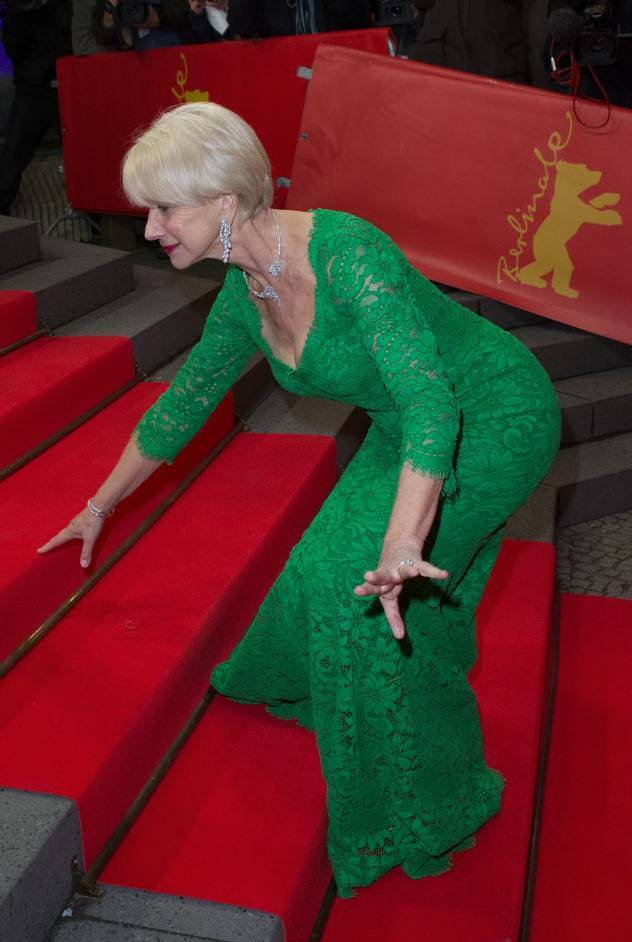 Fallen Mirren: Dame Helen takes a tumble at Woman In Gold premiere, makes elegant recovery