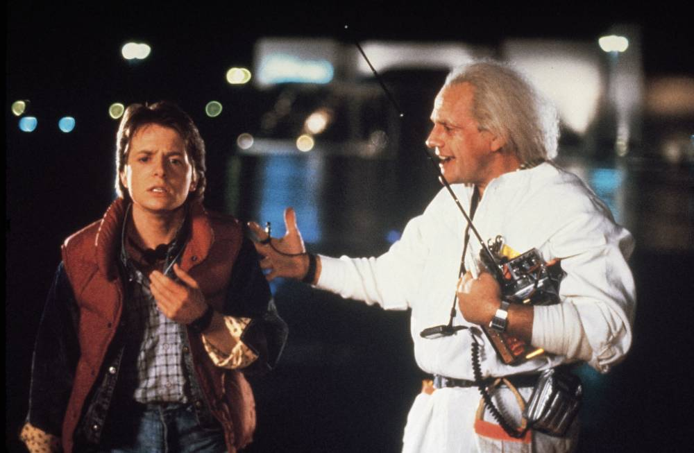FILM  ' BACK TO THE FUTURE ' (1985) PG Teenager Marty McFly accidently takes a trip back in time to 1955 where he must make sure that his parents still fall in love so that he can be born. Starring Michael J Fox & Christopher Lloyd. For more information please contact: Rebecca Edwards @ Sci.Fi on 0207 535 3572...BACK TO THE FUTURE-1