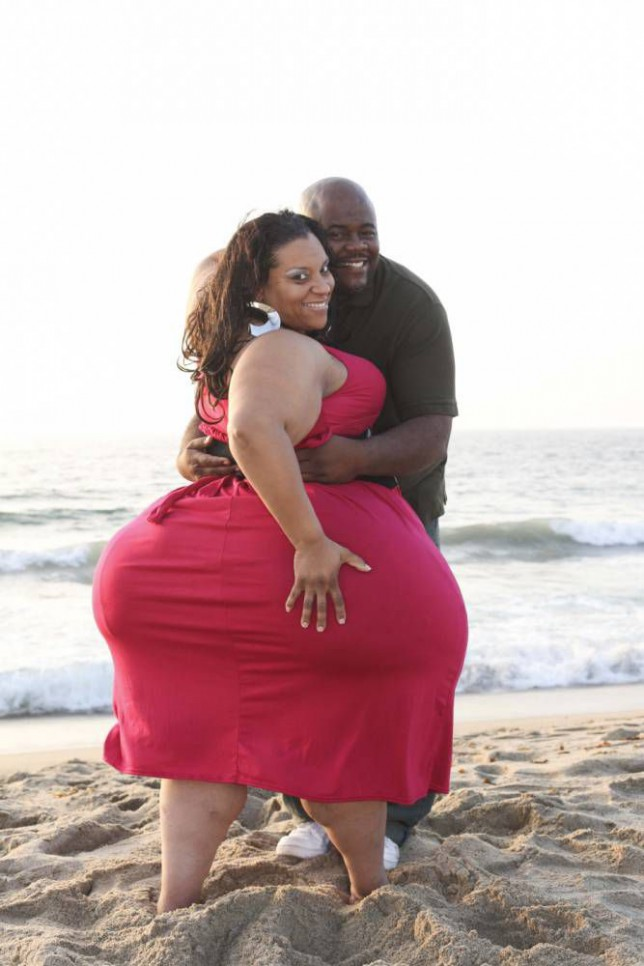 *** EXCLUSIVE - VIDEO AVAILABLE *** LOS ANGELES, CA - UNDATED: FILE PICTURE shows Mikel Ruffinelli, 39, who has the world's biggest hips, measuring an amazing 8 ft round, posing for a picture with her husband Reggie Brooks, 41, at a beach in Los Angeles, California. *** CONDITION OF USE - MUST INCLUDE THE FOLLOWING PLUG: World's Biggest Hips is on Wednesday February 18th, 9pm, Channel 5 *** Four women with unique physiques are working their assets to their advantage by flaunting their record-breaking huge hips. Mikel Ruffinelli, 42, from LA, Denise Souder, 56, from Las Vegas, Marlena Plummer, 35, from New York, and Claudia Floraunce, 40, from LA, have a combined hip circumference of almost 27 foot. The voluptuous ladies are leading the way in the ëbig hipsí phenomenon and whether it be selling clips online or flaunting their curves in the hunt for love, they are each working their sizeable saddlebags to their benefit. PHOTOGRAPH BY Laurentiu Garofeanu / Barcroft USA UK Office, London. T +44 845 370 2233 W www.barcroftmedia.com USA Office, New York City. T +1 212 796 2458 W www.barcroftusa.com Indian Office, Delhi. T +91 11 4053 2429 W www.barcroftindia.com