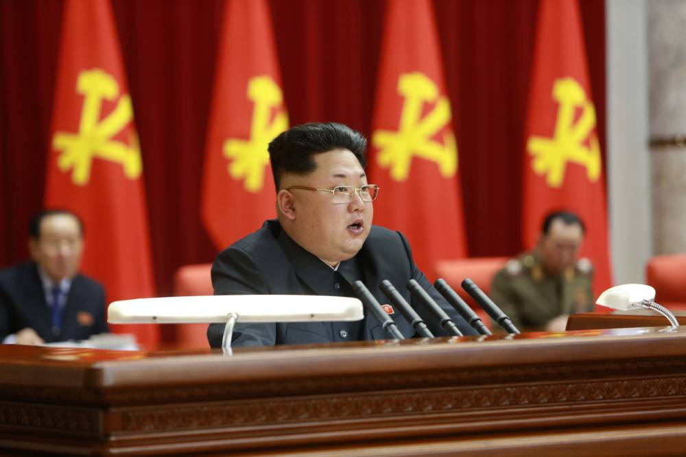 19 Feb 2015, Pyongyang, North Korea --- (150219) -- PYONGYANG, Feb. 19, 2015 (Xinhua) -- Photo provided by Korean Central News Agency (KCNA) on Feb. 19, 2015 shows an enlarged meeting of the Political Bureau of the Central Committee of the Workers' Party of Korea (WPK) taking place in Pyongyang on Wednesday under the guidance of top leader of the Democratic People's Republic of Korea (DPRK) Kim Jong Un. A resolution adopted at the meeting underscored the need to stick to and carry out the behests of late leader Kim Jong Il. (Xinhua/KC --- Image by © KCNA/Xinhua Press/Corbis