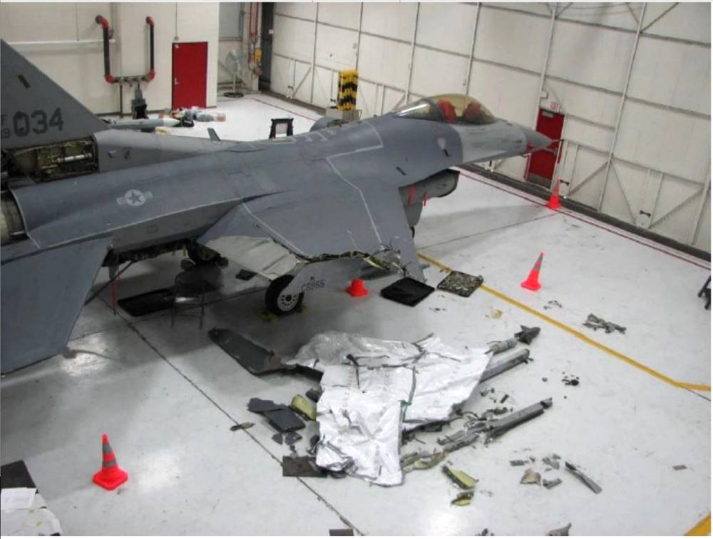 """Two Air Force fighter pilots whose F-16C jets collided in midair in October survived, despite one plane crashing and the other having a five-foot section of its wing sheared off, according to a report the Air Force released Friday.  The collision occurred while the jets were flying over Kansas in formation Oct. 20. One of the planes, flown by a highly experienced instructor, crashed in a grassy field in the town of Moline. The other, flown by a relatively inexperienced pilot who recently had joined their squadron, flew about 100 miles south to Tulsa Air National Guard Base in Oklahoma with part of its right wing missing, and landed safely.  This photo, and the one above, drive home the point of how dramatic the situation was:    The pilot of this F-16C fighter jet managed to fly it 100 miles after half its wing was sheared off in a mid-air collision. (U.S. Air Force) The collision was attributed to a miscommunication between the pilots.  """"According to the results of the investigation, the formation's wingman failed to inform the flight lead of an inability to maintain visual contact with the lead aircraft,"""" Air Force officials said in a statement. """"Simultaneously, the flight lead failed to assume visual and flight path deconfliction contributed to the pilots' inability to realize the danger in time to take effective evasive action.""""  Both planes were with the Oklahoma Air National Guard's 125th Fighter Squadron in Tulsa. They flew that day at 2:03 p.m. for a training mission in which the two aircraft were supposed to work in tandem against a third fighter that was playing the role of an enemy aircraft. They traveled more than 90 miles northwest to airspace over Kansas known as the Eureka Military Operating Area, where they could work on their maneuvers. It is shown on this Defense Department map:    The Eureka Military Operating Area, shown here on a Defense Department map, is in southeast Kansas. (Defense Department) The first simulated engagement ended without inc"""