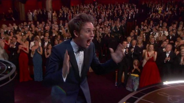 """22 February 2015 - Los Angeles - USA  **** STRICTLY NOT AVAILABLE FOR USA ***  Eddie Redmayne wins Best Actor Oscar - and gets congratultory kiss from new wife Hannah. The British star, who won for his role of Stephen Hawking in The Theory of Everything, looks genuinely stunned as he name was announced. The first thing he did was kiss new wife Hannah - before heading for the stage, with his mouth still open. Once on stage he was like an excited child, as he bumbled through an acceptance speech. He said: """"I think I'm in capable of articulating how I feel right now but I am aware I am a lucky, lucky man. This belongs to all the people around the world battling ALS and it belongs to one exceptional family - Stephen, Jane Jonathan and the Hawking children. And I will be it's custodian and I will promise you that I will look after him, I will polish him, I'll answer beck and call and I'll wait on him hand and foot."""" Redmayne then thanks his 'staggering partner in crime' and co-star Felicity Jones and his team of people before giving a last shout out to wife Hannah, saying: """"Finally, thanks to my family and you Hannah, I love you and we have a new fella coming to share our apartment!""""   XPOSURE PHOTOS DOES NOT CLAIM ANY COPYRIGHT OR LICENSE IN THE ATTACHED MATERIAL. ANY DOWNLOADING FEES CHARGED BY XPOSURE ARE FOR XPOSURE'S SERVICES ONLY, AND DO NOT, NOR ARE THEY INTENDED TO, CONVEY TO THE USER ANY COPYRIGHT OR LICENSE IN THE MATERIAL. BY PUBLISHING THIS MATERIAL , THE USER EXPRESSLY AGREES TO INDEMNIFY AND TO HOLD XPOSURE HARMLESS FROM ANY CLAIMS, DEMANDS, OR CAUSES OF ACTION ARISING OUT OF OR CONNECTED IN ANY WAY WITH USER'S PUBLICATION OF THE MATERIAL.    BYLINE MUST READ : ABC/XPOSUREPHOTOS.COM    PLEASE CREDIT AS PER BYLINE *UK CLIENTS MUST CALL PRIOR TO TV OR ONLINE USAGE PLEASE TELEPHONE  44 208 344 2007"""