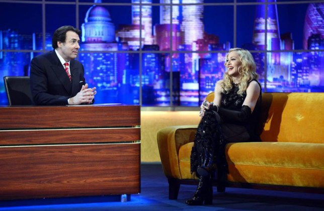 PLEASE CAN YOU MAKE SURE THIS INFO IS RUN ALONGSIDE THE IMAGE -  *The Jonathan Ross Show - Madonna Special airs Saturday 14th March on ITV* EDITORIAL USE ONLY / NO MERCHANDISING.. Mandatory Credit: Photo by Dave Hogan/Hotsauce/REX (4462483a).. Jonathan Ross and Madonna.. 'The Jonathan Ross Show - Madonna Special' TV Programme, London, Britain. - 14 Mar 2015.. ..