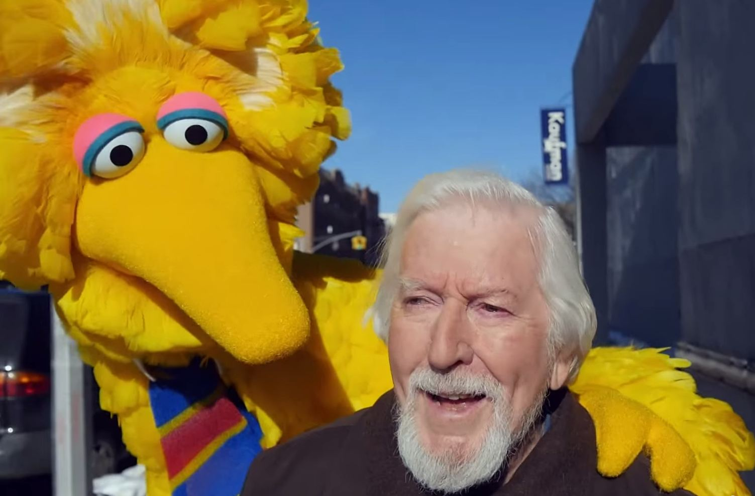 Big Bird bloke spoofs Michael Keaton's Birdman