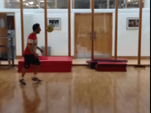 Arsenal's Nacho Monreal and Santi Cazorla hold keepy-up contest…and there is only one winner