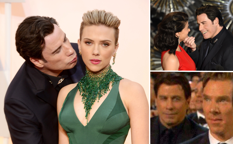 John Travolta (R) and Idina Menzel prese