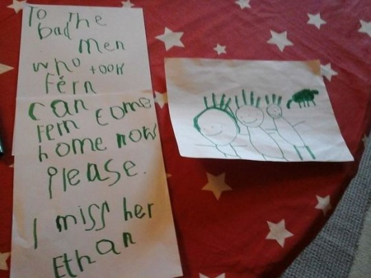 Child's note asking criminals to return missing cocker springer spaniel cross Fern