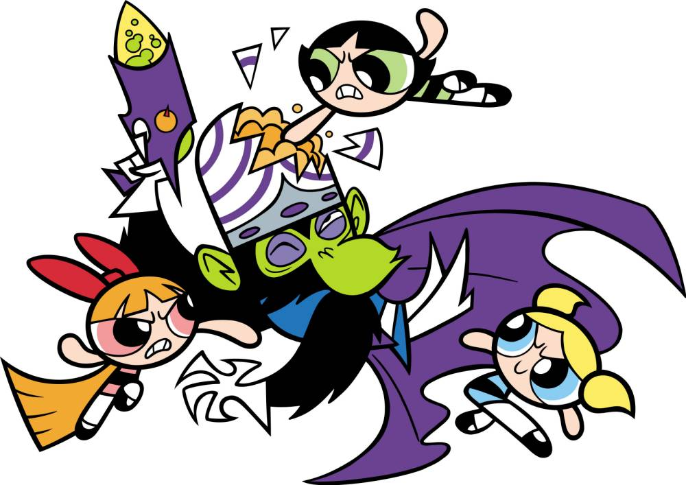 Television programme : POWERPUFF GIRLS. Blossom, Bubbles and Buttercup beat up Mojo Jojo.  3.JPG