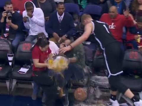 Brooklyn Nets giant Mason Plumlee crashes into court-side waitress, sends beers flying all over fans