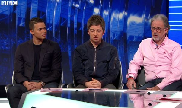 Noel Gallagher joins the boys on Match of the Day (Picture: BBC)