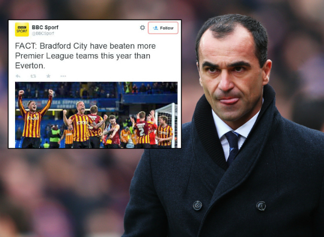 League One Bradford City have beaten more Premier League teams than Everton in 2015
