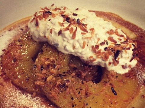 Give your pancakes a totally tropical twist with this recipe by Tom Cenci