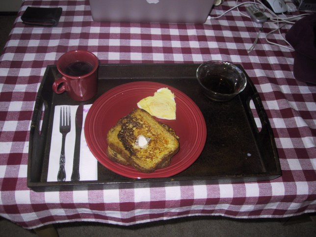 French toast and heart shaped fried egg
